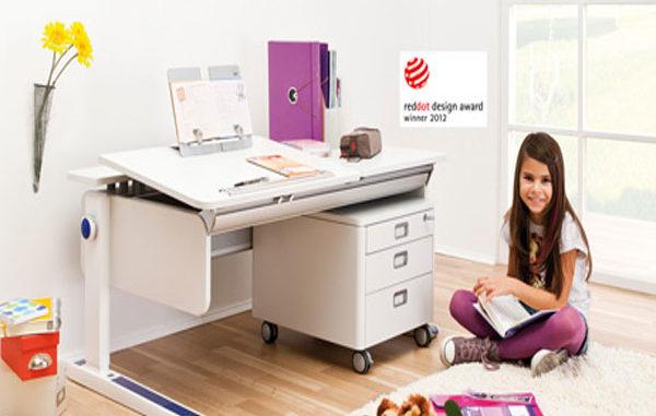Schreibtisch, Rollcontainer, neigbare Tischplatte