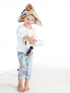 Farbe, Pinsel, tapezieren, Kinder
